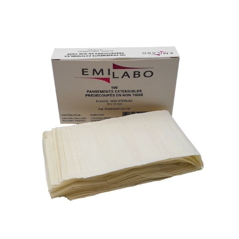 Boîte de 100 pansements prédécoupés blancs