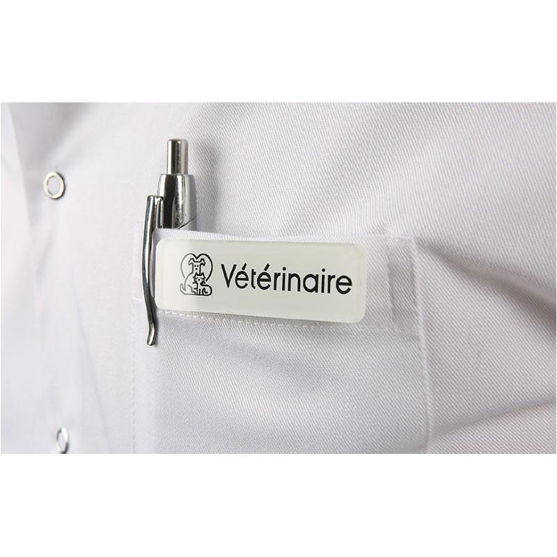 Badge magnétique de vétérinaire - Blanc