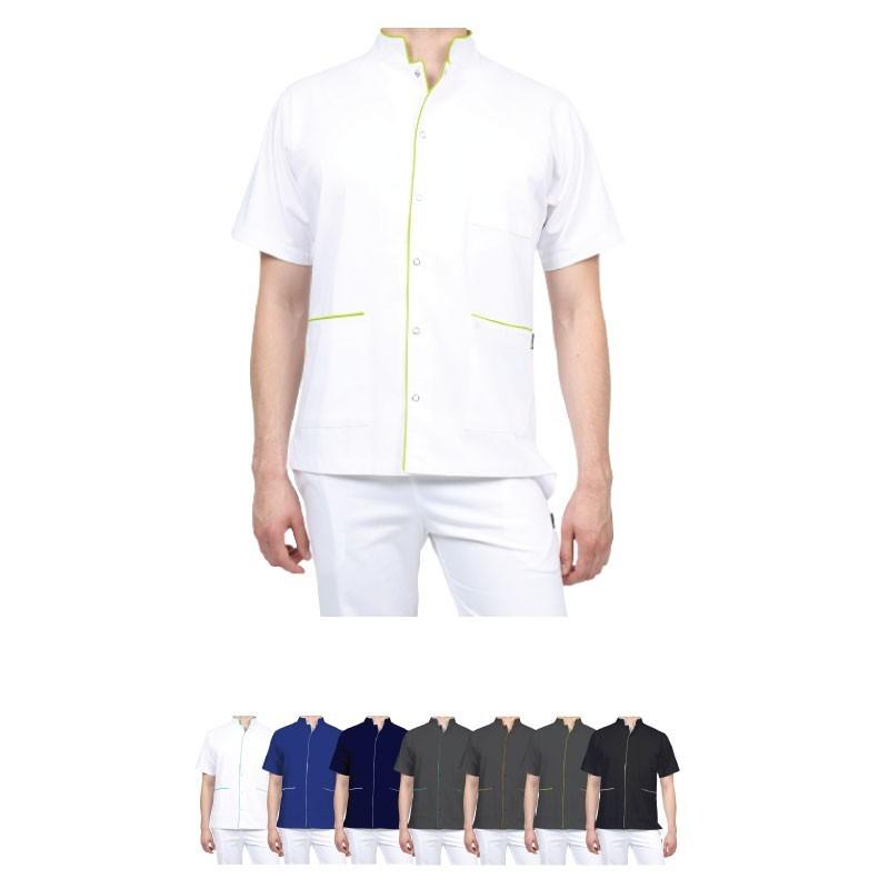 Blouse bicolore pour homme à pressions couleur au choix