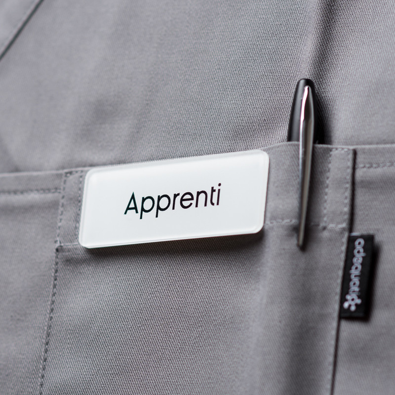 Badge magnétique d'apprenti - Blanc